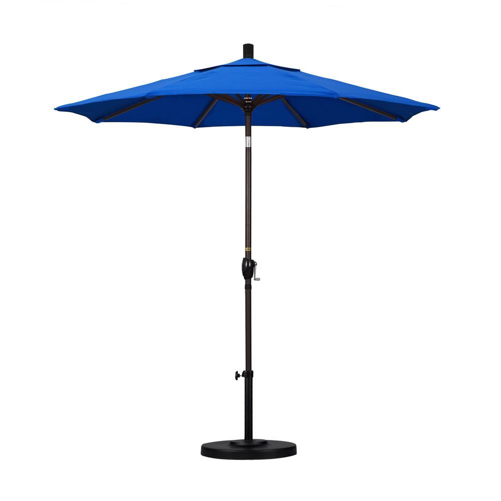 7-1/2 ft. Fiberglass Push Tilt Patio Umbrella in Pacific Blue Olefin