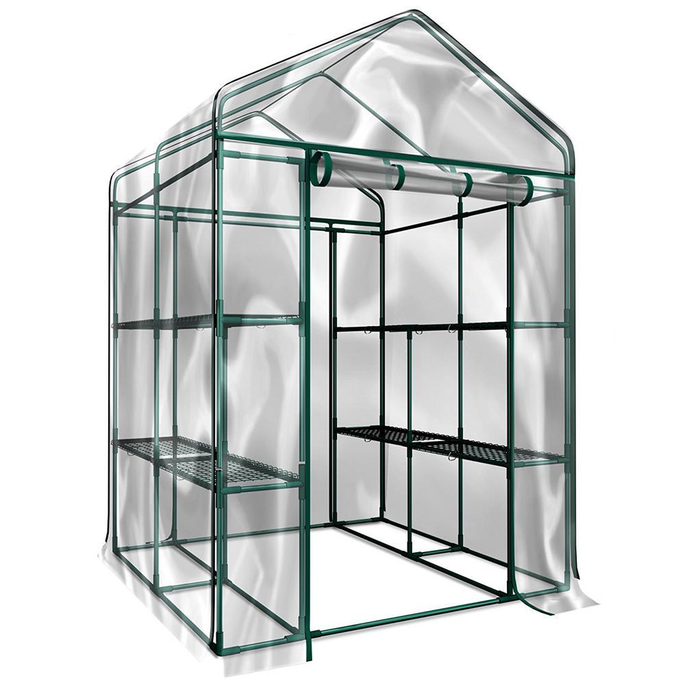 Trademark 4.7 ft. W x 4.7 ft. D x 6.4 ft. H Walk-In Indoor/Outdoor Greenhouse
