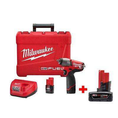 M12 FUEL 12-Volt Cordless Brushless 3/8 in. Impact Wrench Kit with 6.0Ah Battery