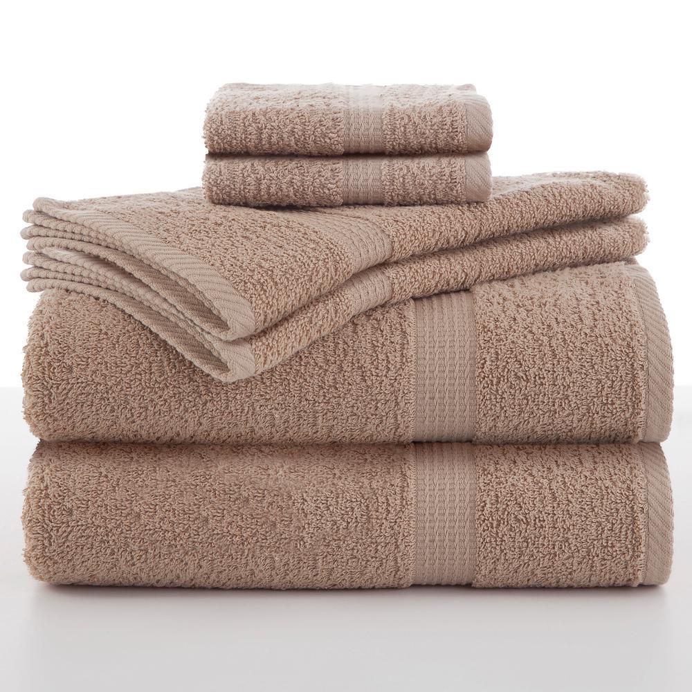 Utica Essentials 6-Piece Cotton Towel Set in Linen ...