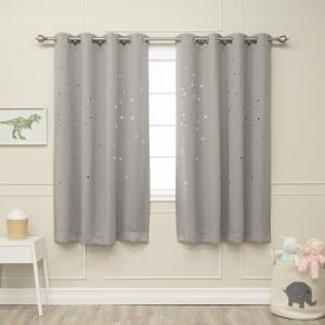 63 in. L Star Cut Out Blackout Curtains in Dove (2-Pack)