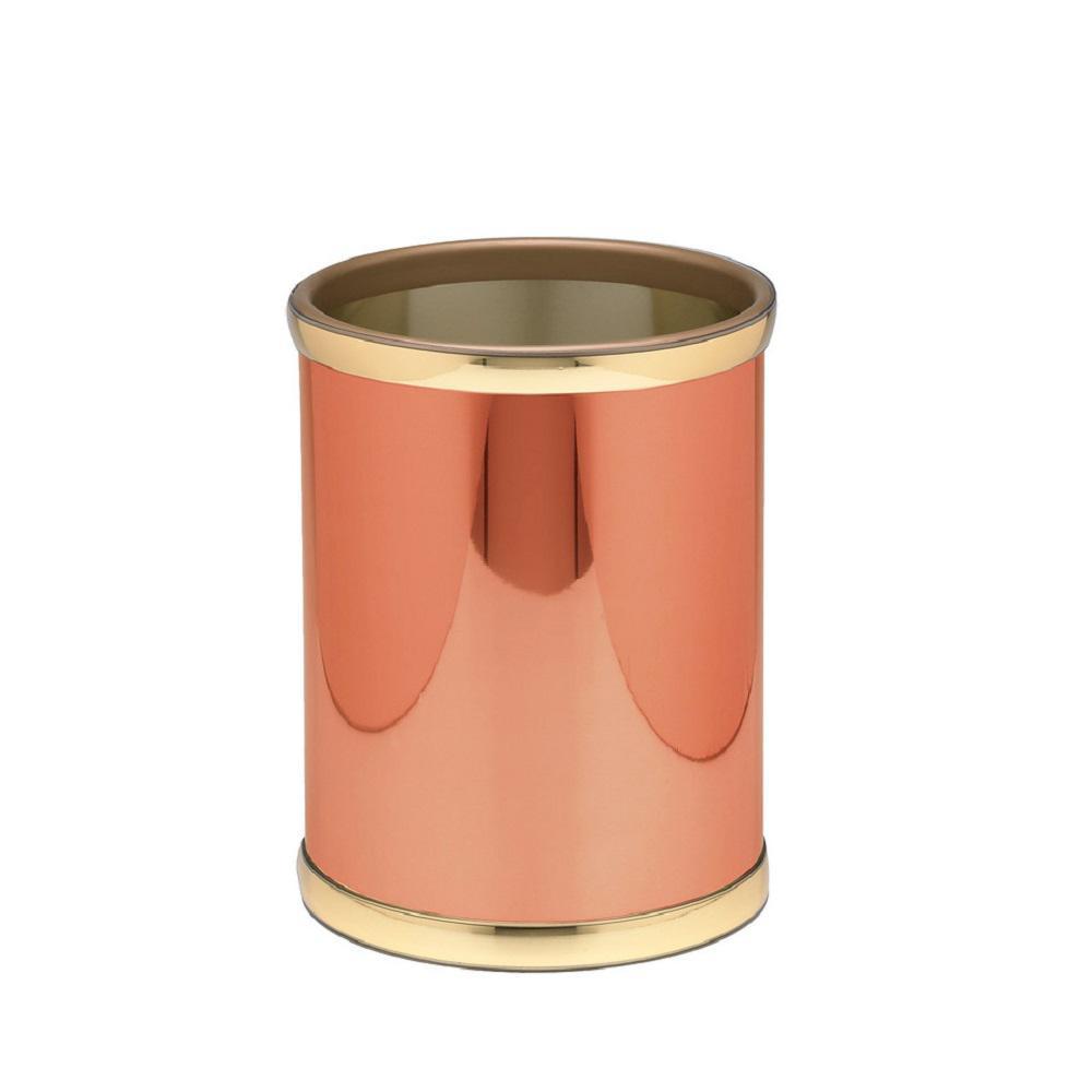 Mylar 8 qt. Polished Copper and Brass Round Waste Basket