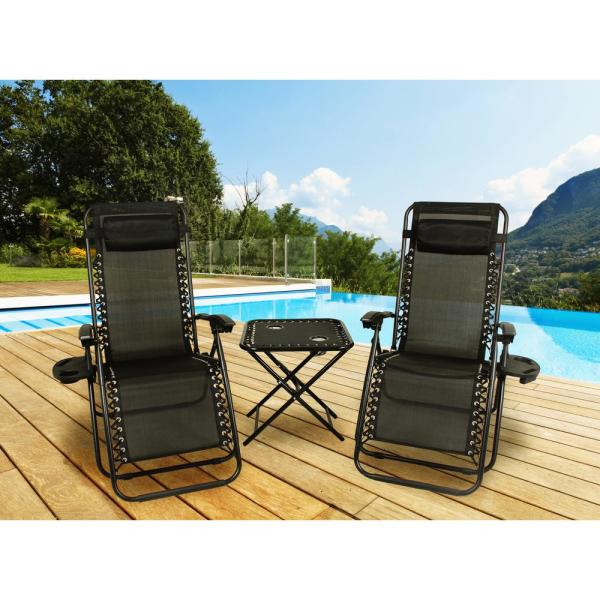 Black Fabric Metal Folding Zero Gravity Lawn Chair, 2 Chairs with Cupholders, 1 Table