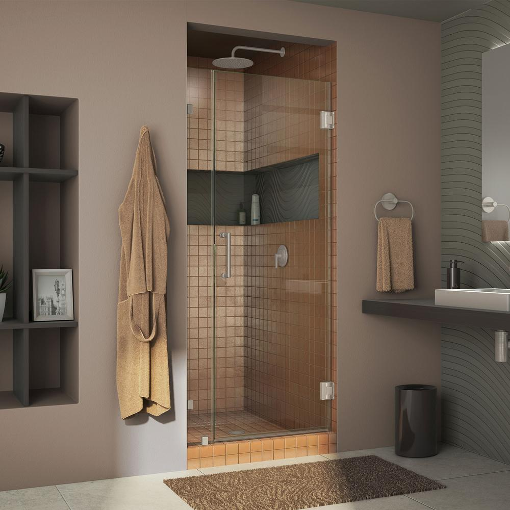 DreamLine Unidoor Lux 30 in. x 72 in. Frameless Pivot Shower Door in Brushed Nickel