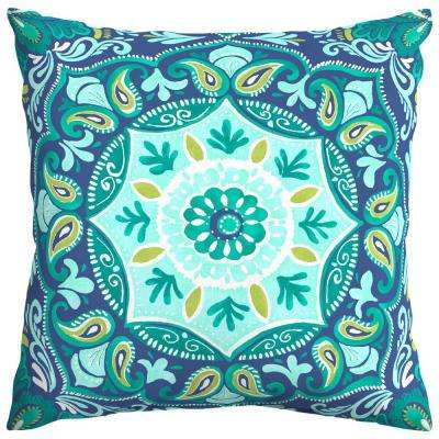 Seaglass Medallion Square Outdoor Throw Pillow