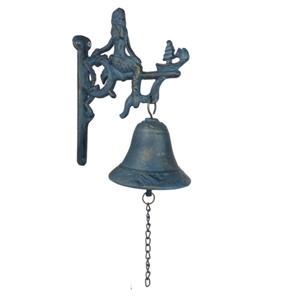 Cast Iron Blue Nautical Coastal Garden Bell