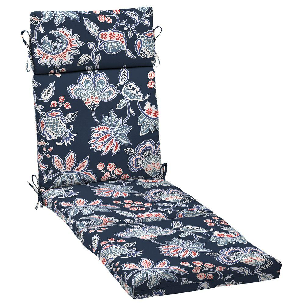 21 x 42.5 Outdoor Chaise Lounge Cushion in Standard Blue Floral