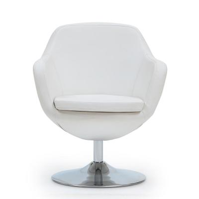 White Caisson Leatherette Swivel Accent Chair