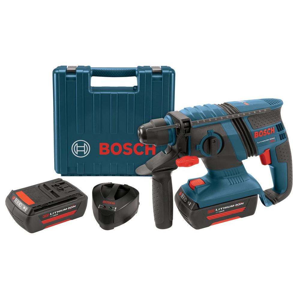 Bosch 36-Volt Lithium-Ion 1 in. Corded Compact SDS-Plus Rotary Hammer with 2 SlimPack Battery