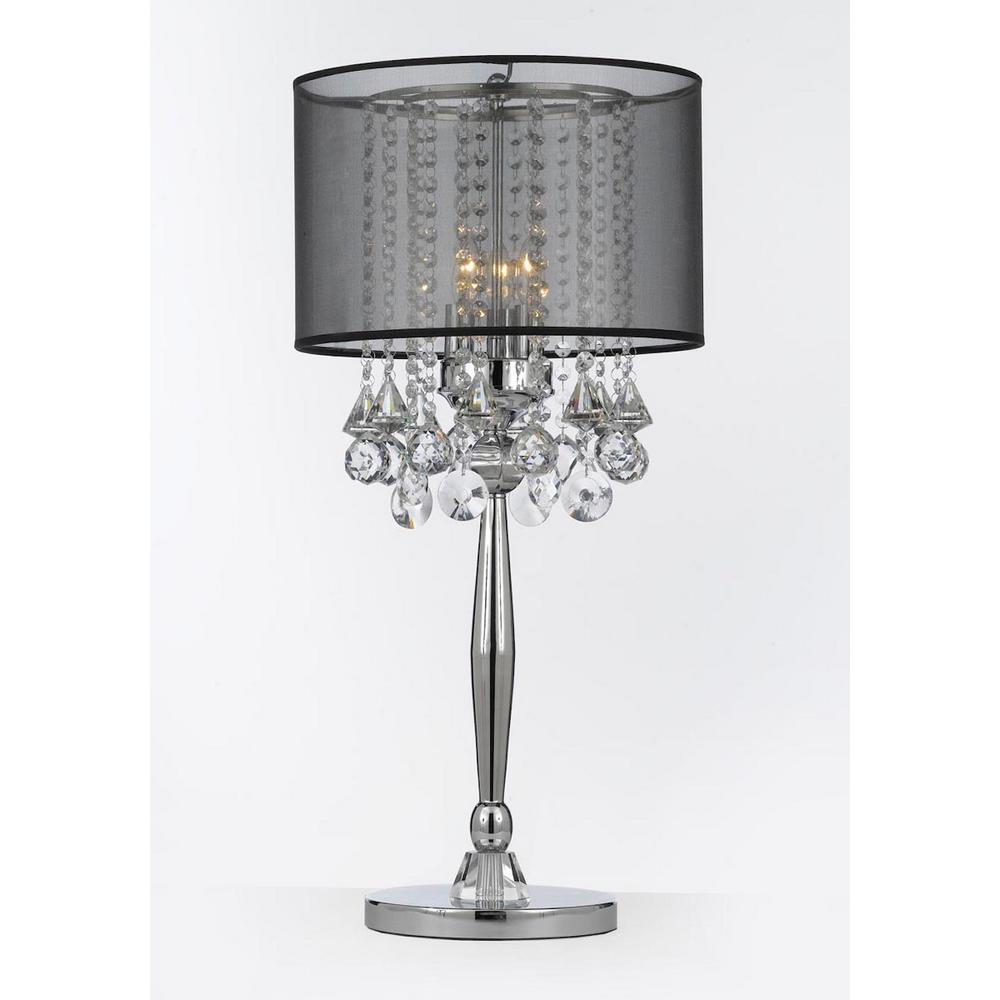 Chandelier Table Lamps: Modern 29 In. Silver Mist Table Lamp With Hanging Crytals