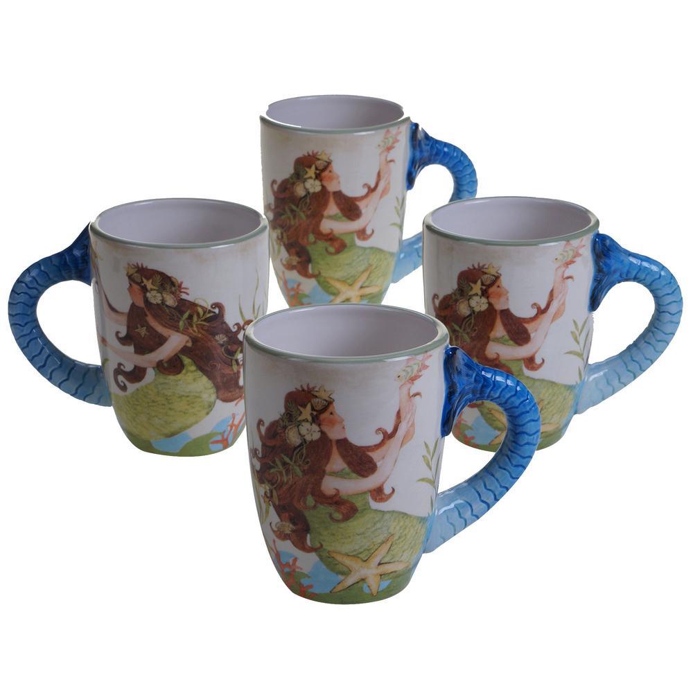 Sea Beauty 20 oz. Multi-Colored Ceramic Mugs (Set of 4)
