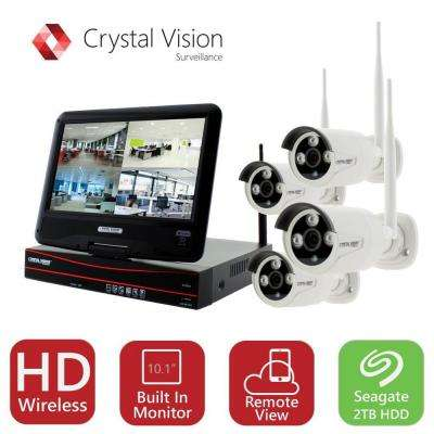 4-Channel True HD 2TB HDD Wireless CCTV with 4-Autopair Waterproof IR Cameras Built-In Monitor and Router
