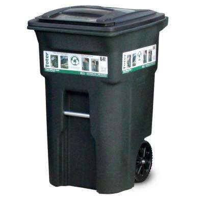 Good Green Trash Can With Wheels And Attached Lid