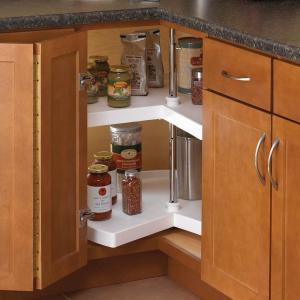 Attractive Kidney Shaped Polymer Lazy Susan Cabinet Organizer PKN18ST W   The Home  Depot
