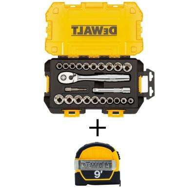 1/2 in. Drive Combination Socket Set with Case (23-Piece) with Bonus 9 ft. x 1/2 in. Pocket Tape Measure