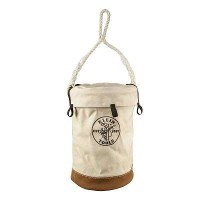 Leather Bottom 17 in. Canvas Tool Bucket with Top