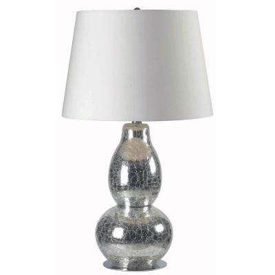 Mercurio 28 in. Cracked Chrome Glass Table Lamp
