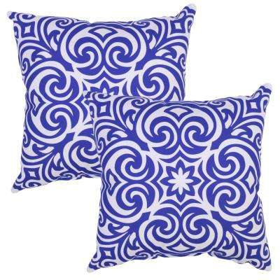 Poolside Corinthian Square Outdoor Throw Pillow (2-Pack)