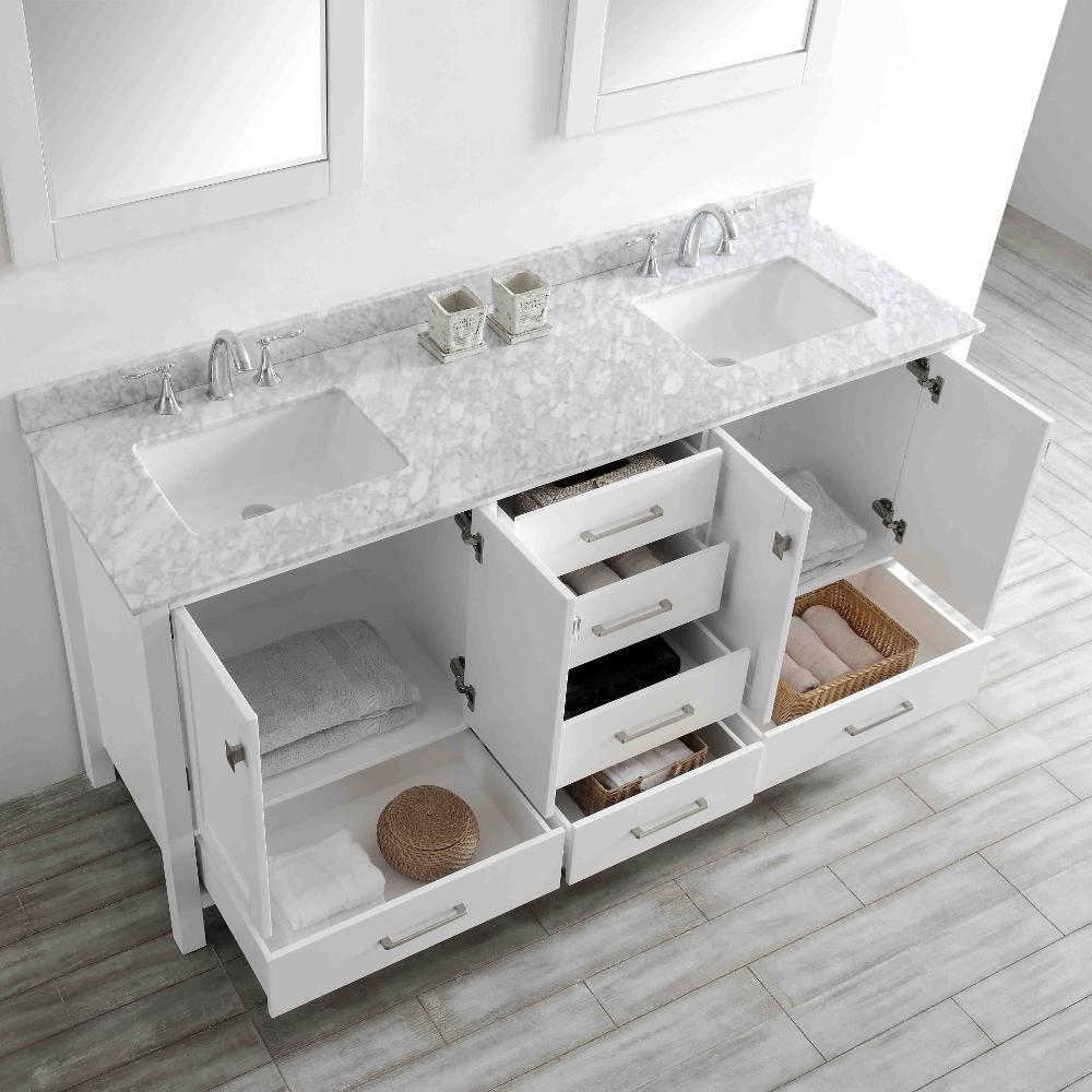 Aberdeen 71 in. W x 22 in. D x 35 in. H Vanity in White with Carrara Marble Vanity Top in White with White Basin