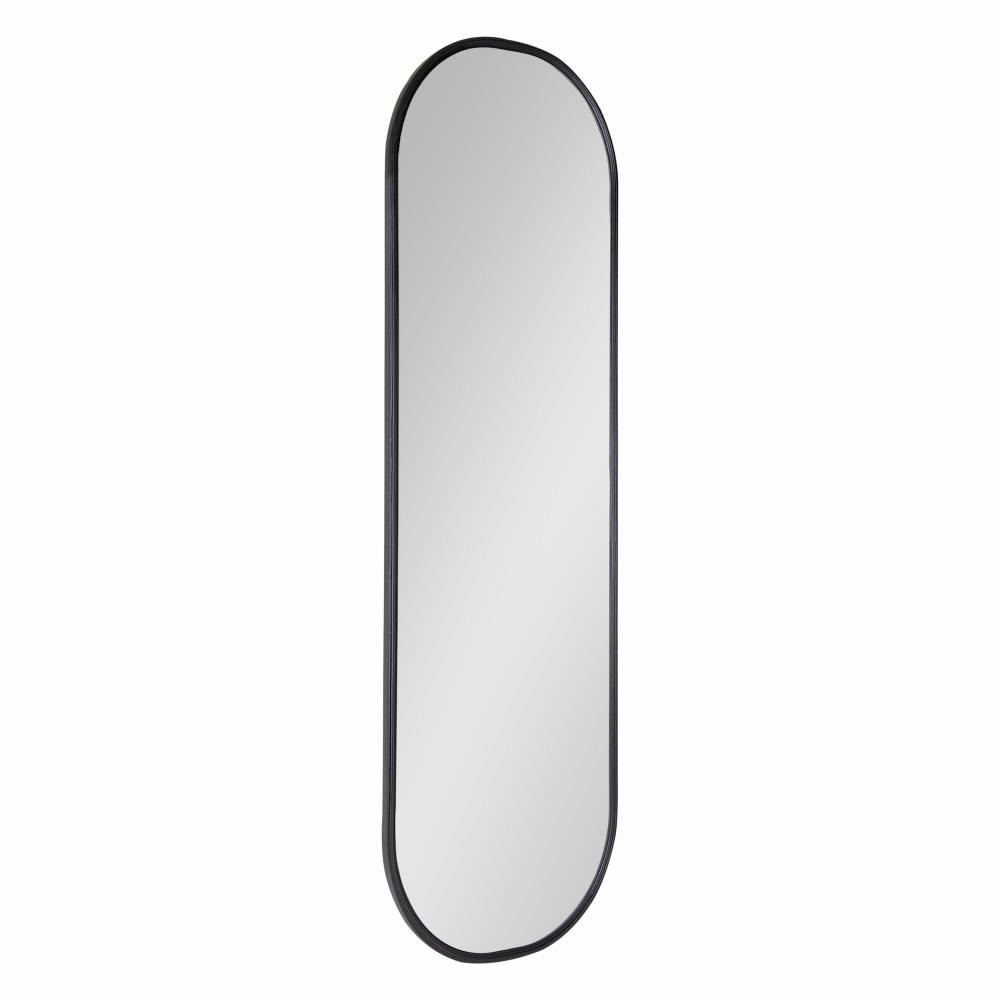 Large Oval Black Modern Mirror (48 in. H x 15.88 in. W)