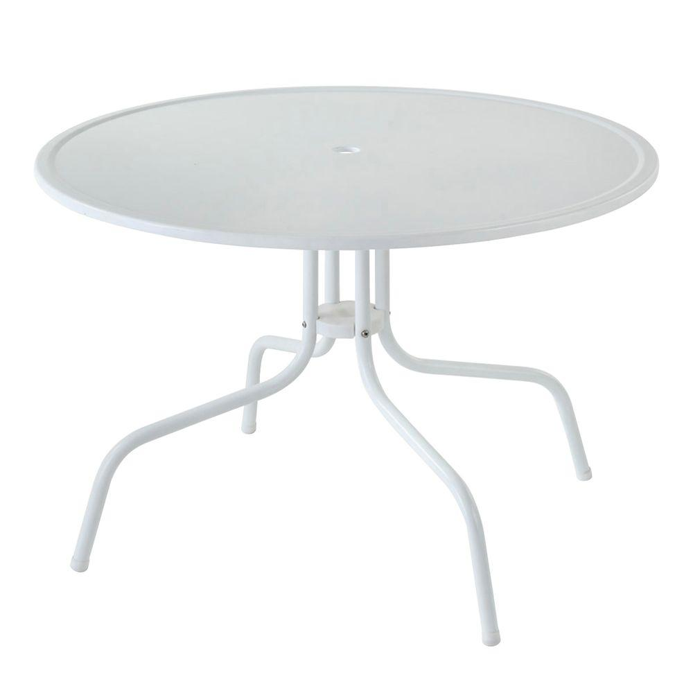 Crosley griffith white metal patio dining table co1012a wh for White patio table