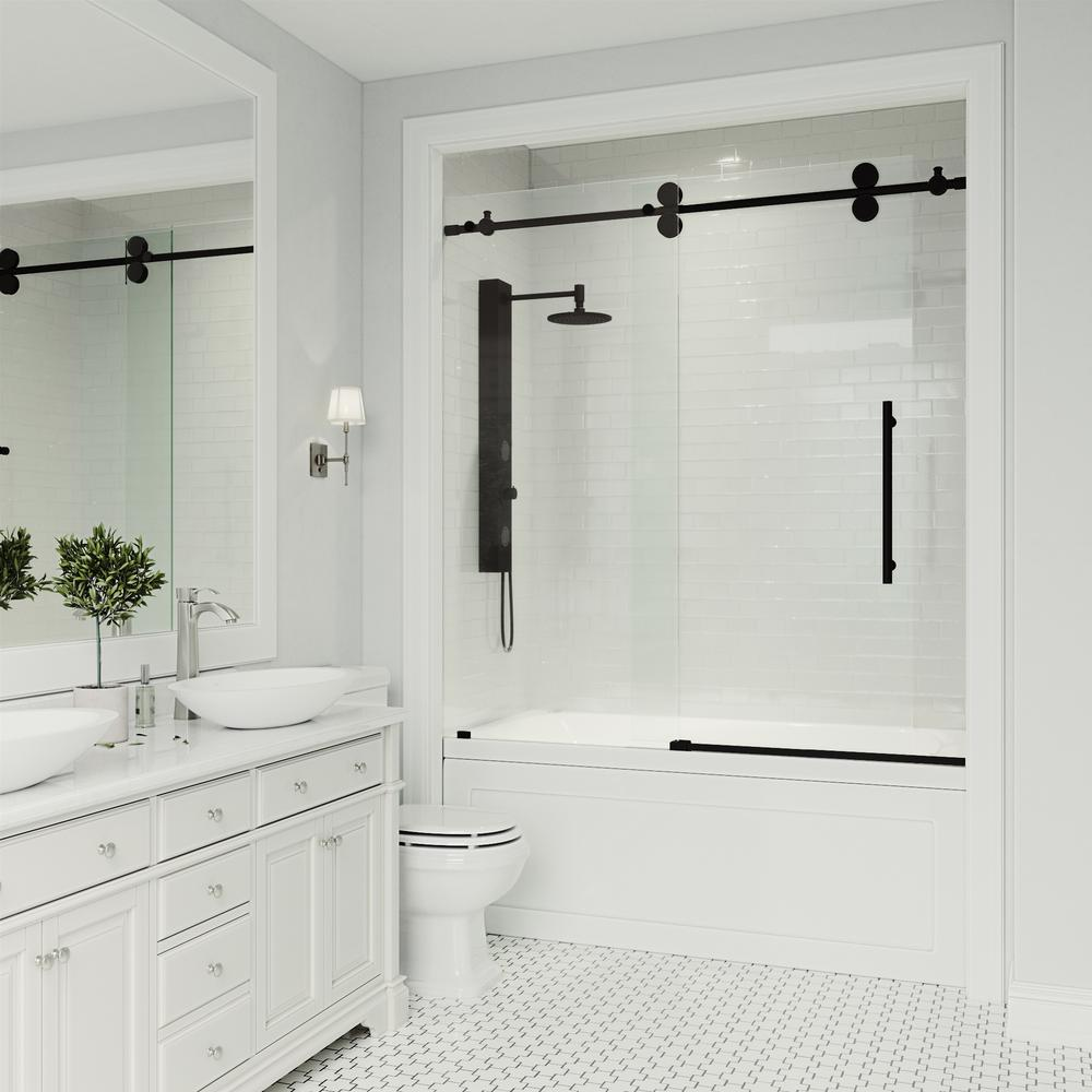 Vigo Elan 56 To 60 In X 66 Frameless Sliding Tub Door Clear Matte Black With Gl And Handle