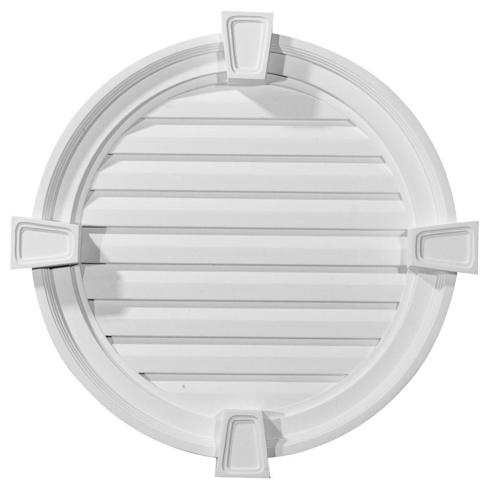 Ekena Millwork 2-1/8 in. x 22 in. x 22 in. Decorative Round Gable Vent with Keystones