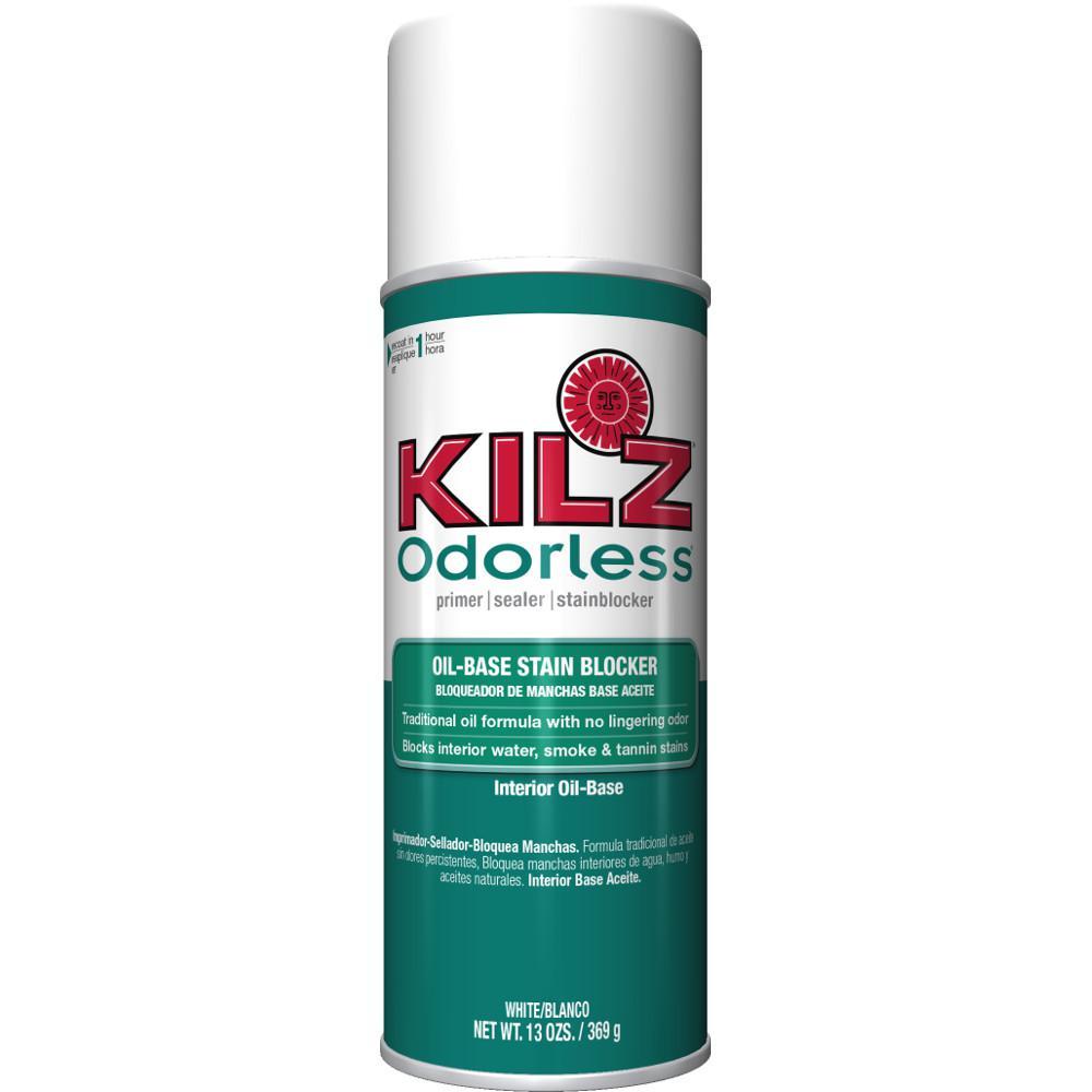 KILZ Odorless 13 oz. White Oil-Based Interior Primer Spray, Sealer, and Stain Blocker