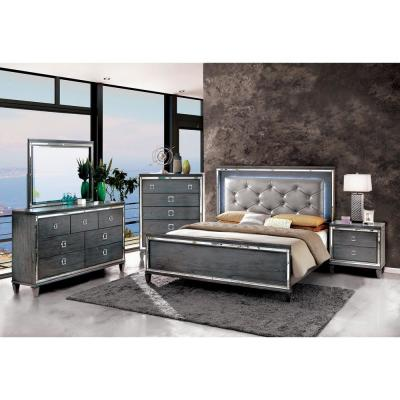 Clover Queen Bed in Gray finish
