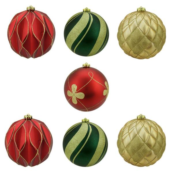 Northlight 7 Count Matte And Glitter Red Gold And Green Earthy Shatterproof Ball Christmas Ornaments 6 In 150 Mm 31424922 The Home Depot