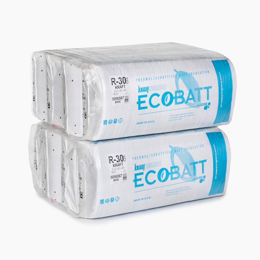 R-30 EcoBatt Kraft-Faced High Density Fiberglass Insulation Batt 8-1/4 in. x 23 in. x 48 in. (8-Bags)