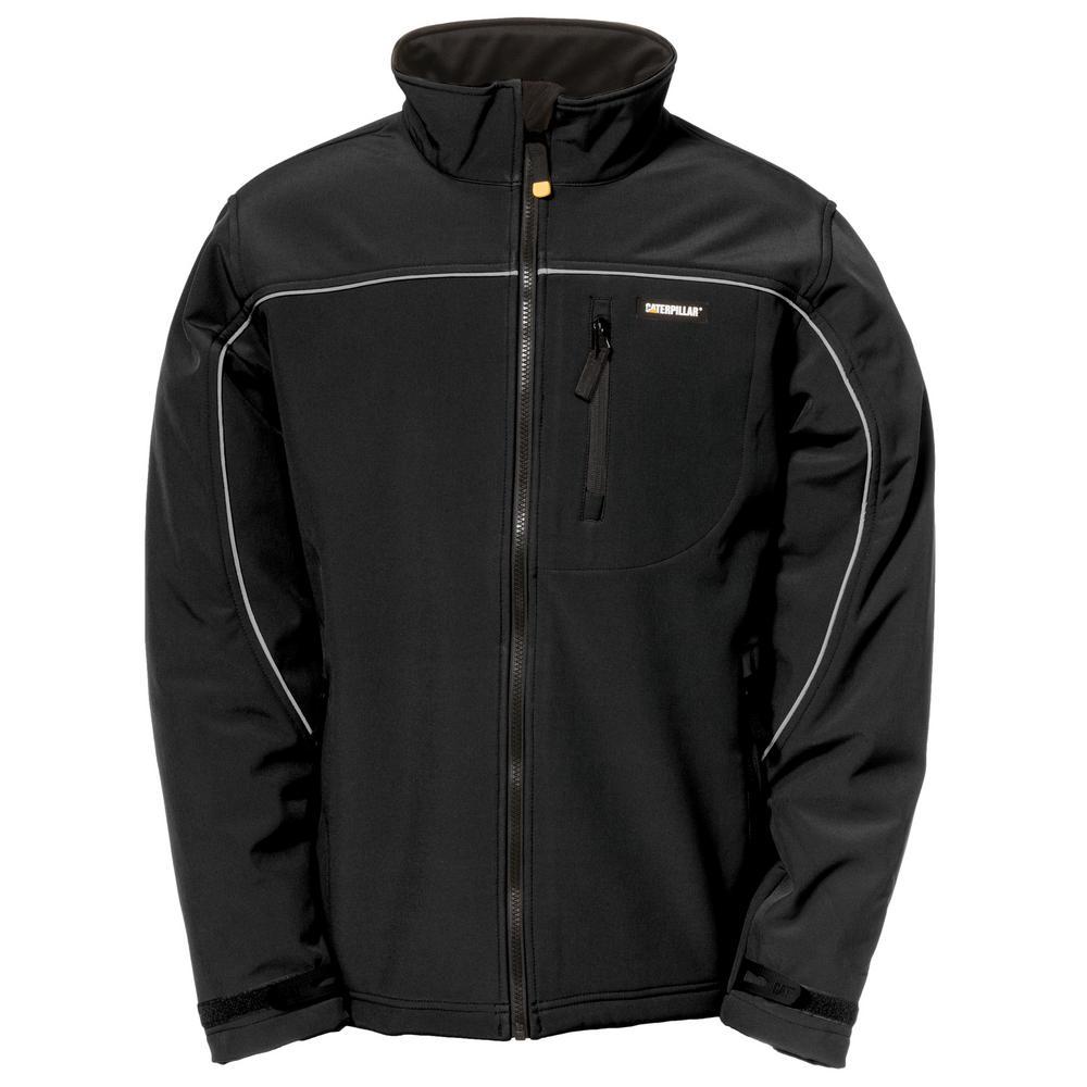 Caterpillar Soft Shell Men's Medium Black Polyester/Spandex Water Resistant Jacket