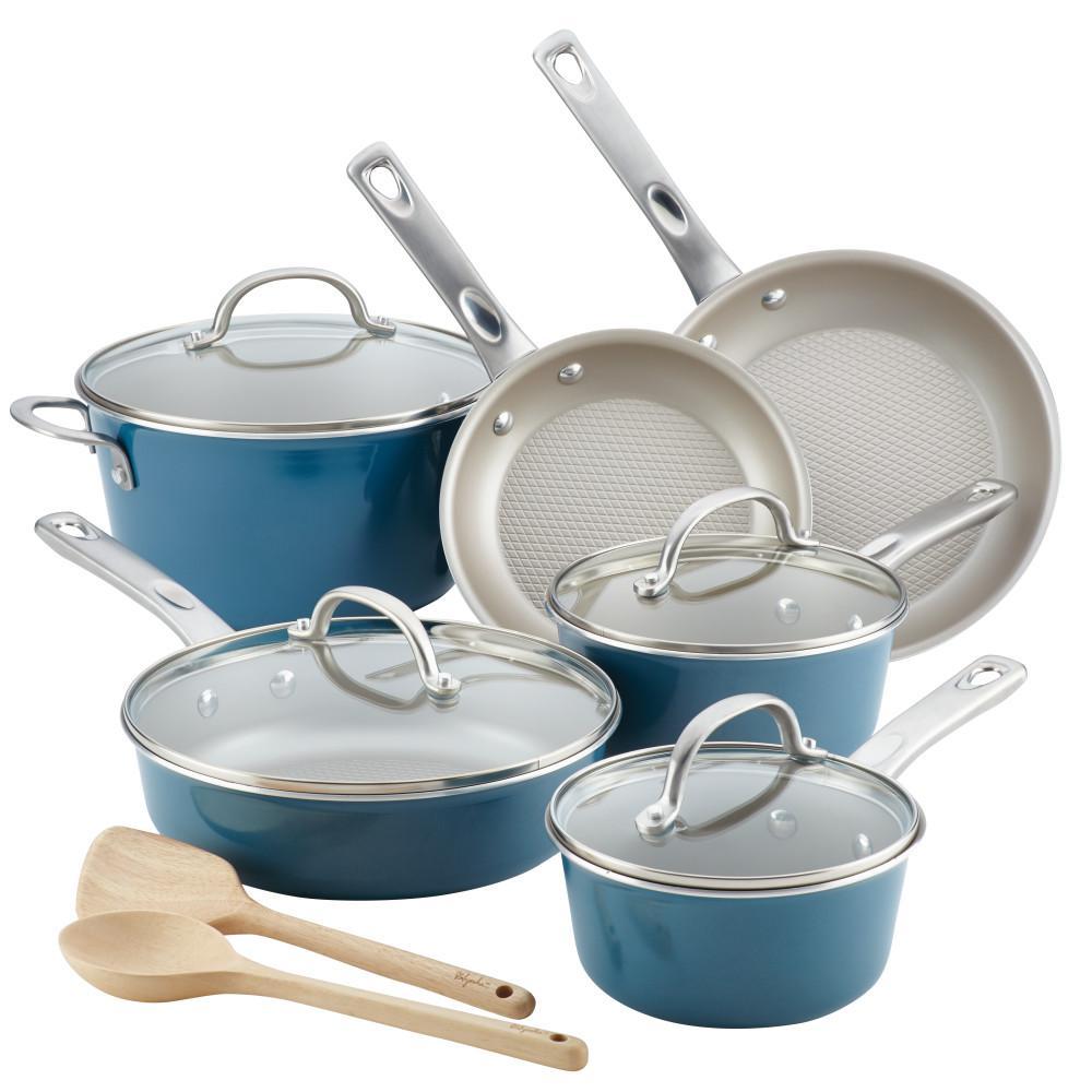 Home Collection 12-Piece Twilight Teal Porcelain Enamel Nonstick Cookware Set