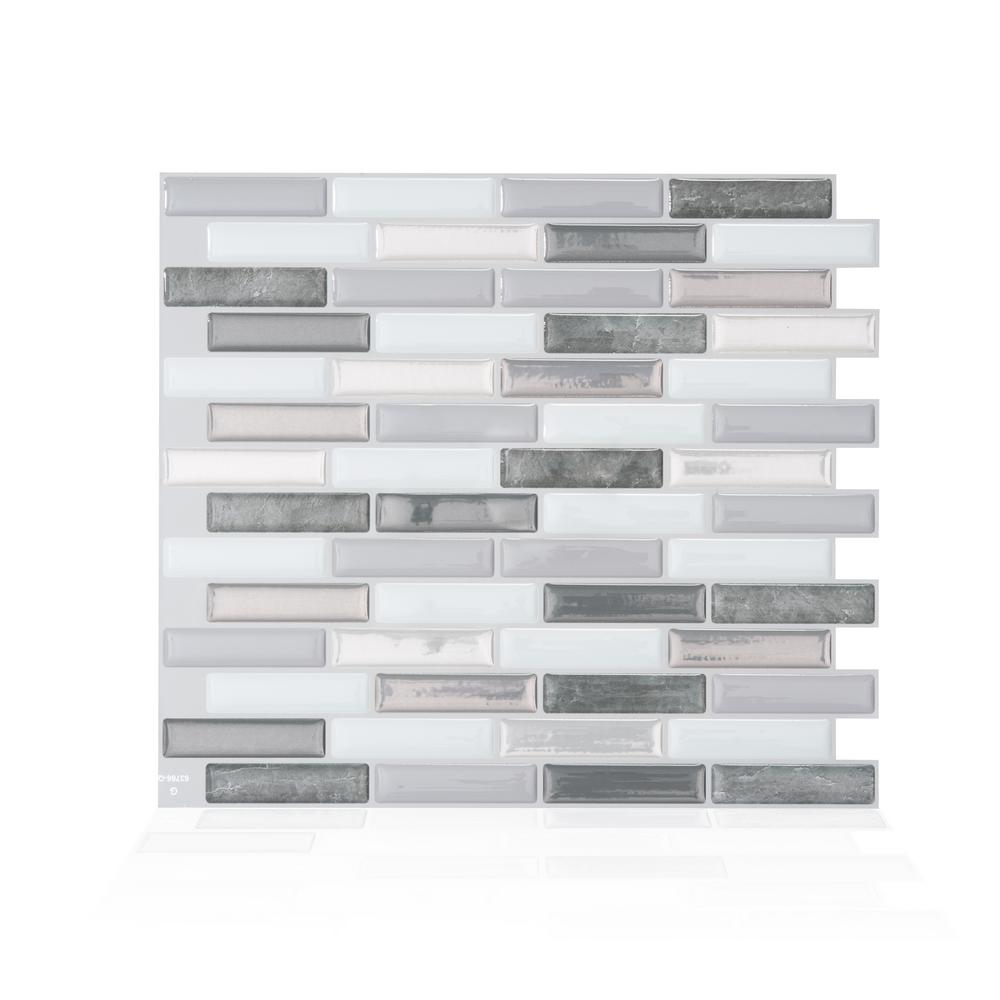 Smart Tiles Smart Tiles Milenza Bigio 10.20 in. W x 9.00 in. H Peel and Stick Self-Adhesive Decorative Mosaic Wall Tile Backsplash (4-Pack), Gray