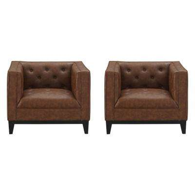 Cadman 2-Piece Camal PU Leather Armchairs
