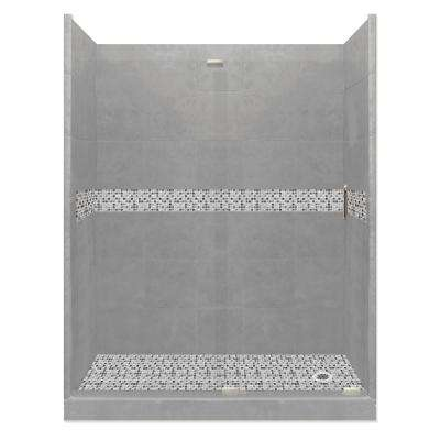 Del Mar Grand Slider 42 in. x 60 in. x 80 in. Right-Drain Alcove Shower Kit in Wet Cement and Satin Nickel Hardware