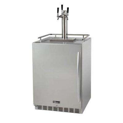 Digital Outdoor Undercounter Full Size Beer Keg Dispenser with X-CLUSIVE Triple Tap Premium Direct Draw Kit Left Hinge