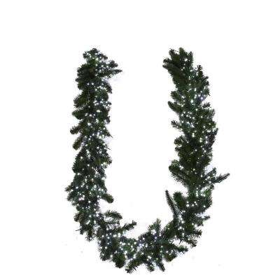 9 ft. Pre-Lit Cool White LED Starry-Light Grand Spruce Garland