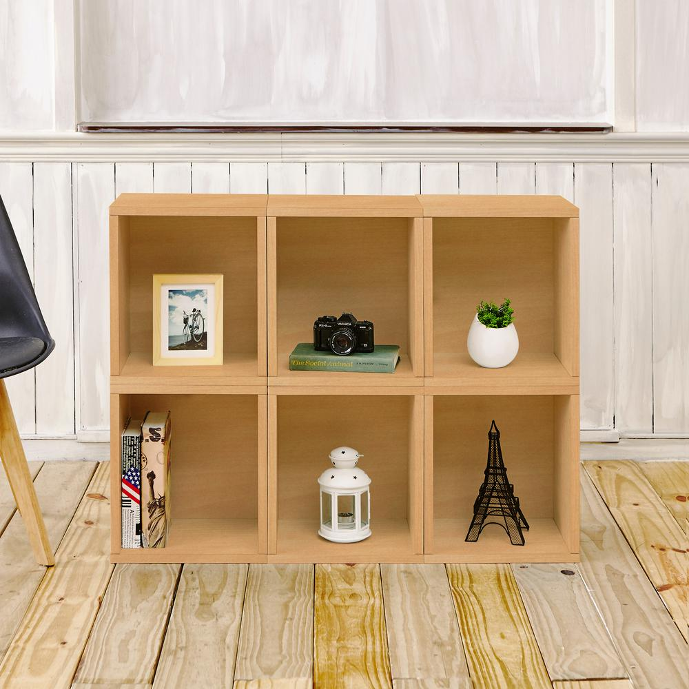 Valencia 6 Cubes ZBoard Stackable Modular Storage Cubby Organizer,  Tool Free Assembly In Natural