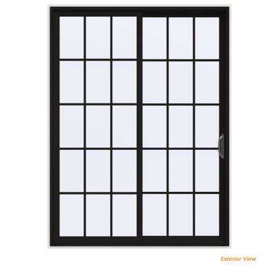 72 in. x 96 in. V-4500 Contemporary Black Painted Vinyl Right-Hand 15 Lite Sliding Patio Door w/White Interior