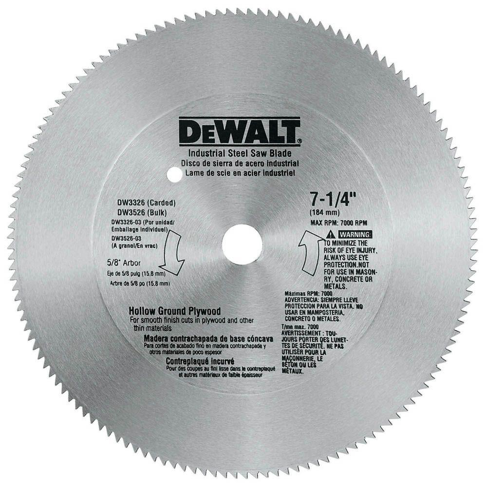 Dewalt 7 1 4 In 140 Teeth Steel Plywood Saw Blade Dw3326