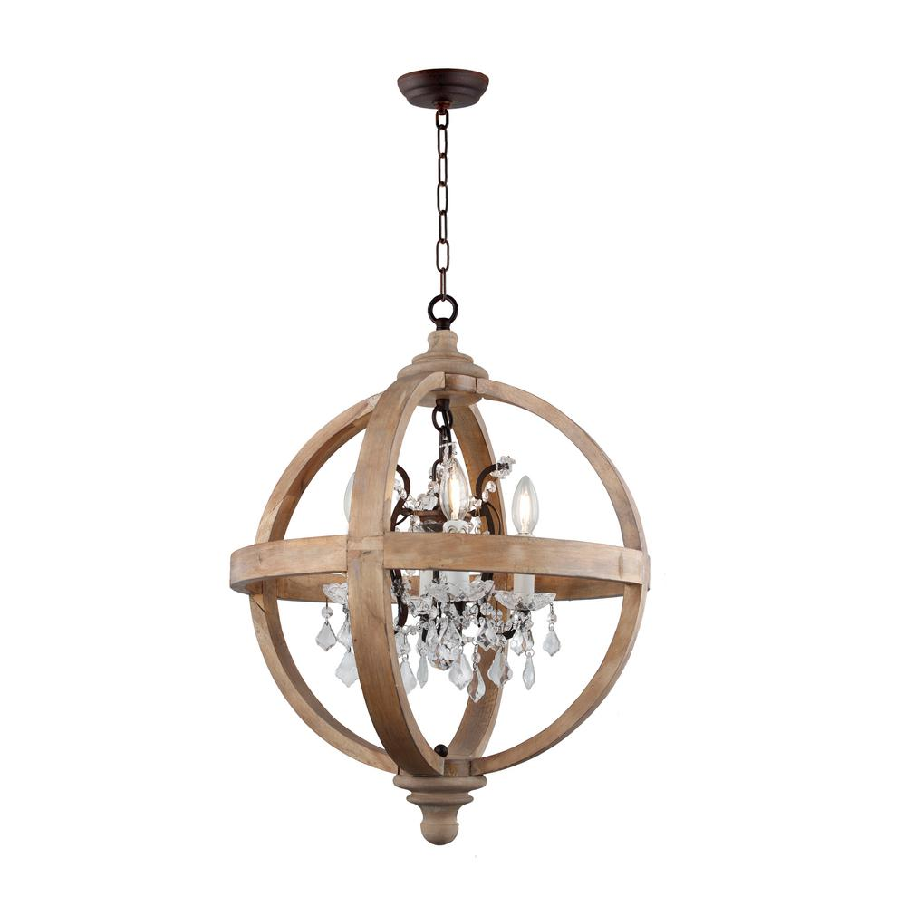 Y decor 4 light candle style globe natural wood chandelier with clear glass crystals