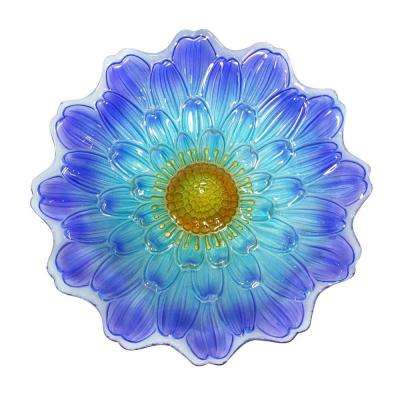 18 in. Blue Flower Birdbath