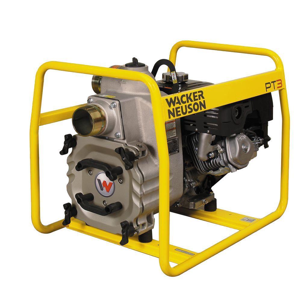 Wacker 7.9 HP 3 in. Centrifugal Trash Pump with Honda Engine and Wheel Kit