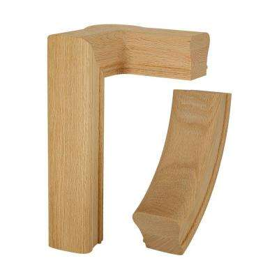 7286 Unfinished Red Oak 2-Rise Right-Hand Gooseneck with Cap Hand Rail Fitting
