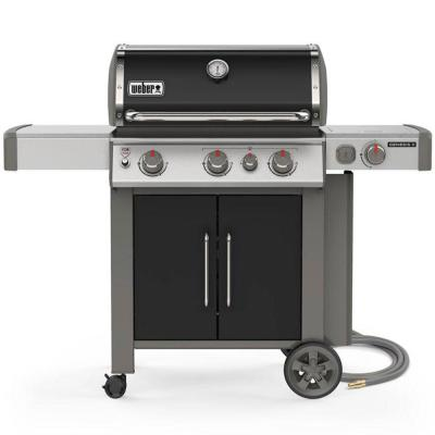 Genesis II E-335 3-Burner Natural Gas Grill in Black with Built-In Thermometer and Side Burner