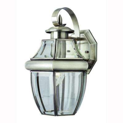 Contemporary 1-Light Brushed Nickel Coach Lantern with Clear Glass