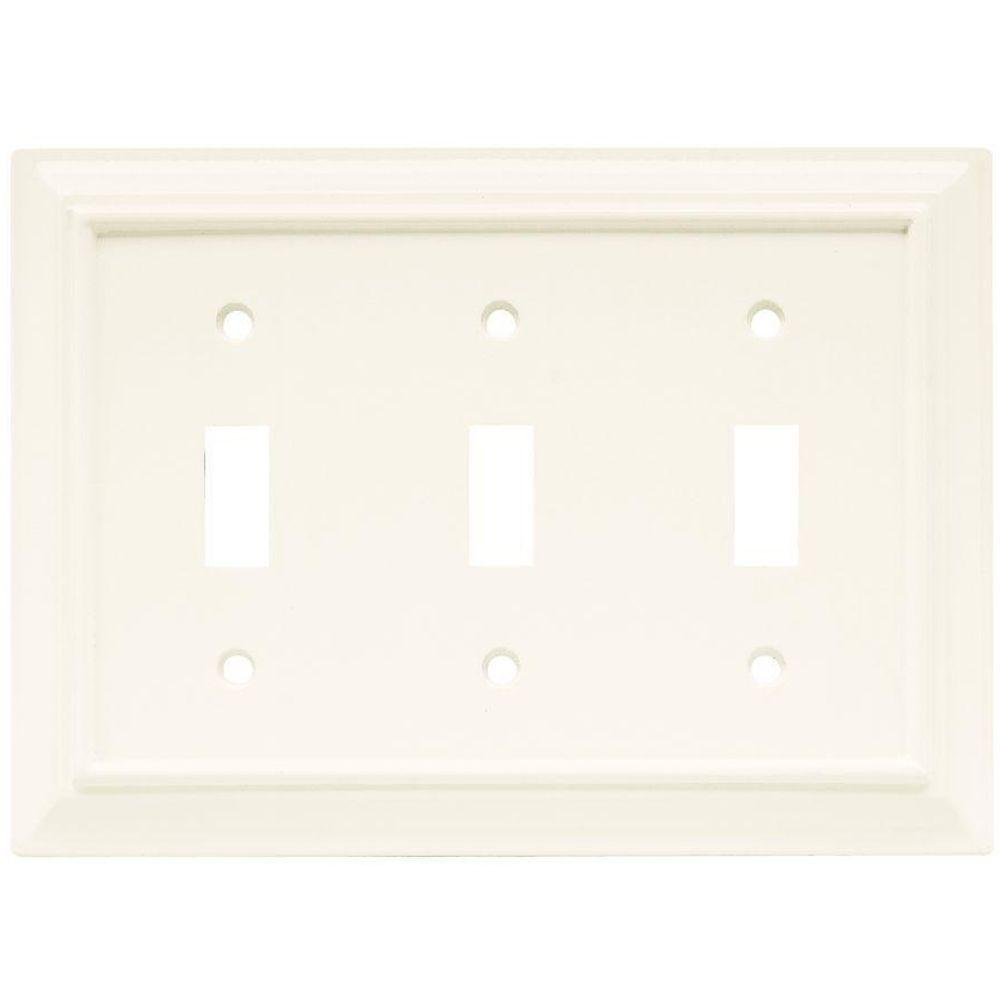 Hampton Bay White 3 Gang 3 Toggle Wall Plate 1 Pack W10764 W Ch The Home Depot