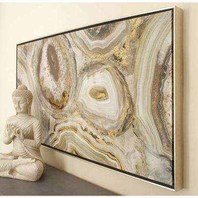 25 in. x 46 in. Brown and Beige Marbling Painted Framed Canvas Wall Art