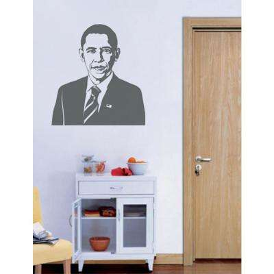 22.6 in. x 24 in. Gray US President Obama Removable Wall Decal